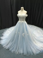 New Real Image Tulle Appliqued Beads Off The Shouder A Line Long Wedding Dress Light Blue