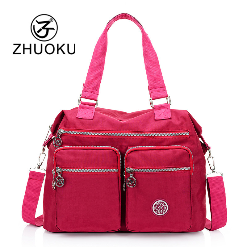 ZHUOKU 2017 Women Waterproof Nylon Bags For Woman Handbags Strap Large Capacity Travel Stroller Bag brand Bolsa feminina WH253