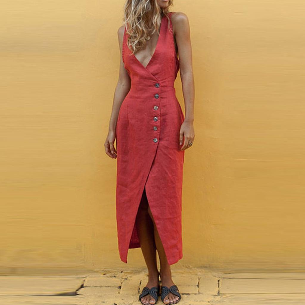 Women Solid Sleeveless O-Neck Maxi Buttons Cotton Loose Baggy Kaftan Long Dress