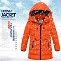 -40 детская одежда мальчик зима хлопка-ватник 2016 утка вниз ватные куртки утолщение мальчики девочки сгустите с капюшоном пальто