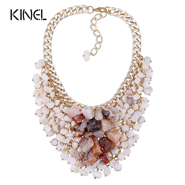 21372a920b19a Famous Brand Jewelry Handmade Natural Stone Necklace Aluminum Shell Short  Chain Statement Necklace Christmas Gift-in Choker Necklaces from Jewelry &  ...