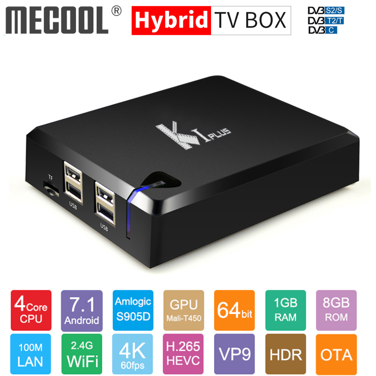 Original MECOOL KI PLUS DVB-T2 DVB-S2 DVB-C Android 7.1 TV Box Amlogic S905D Quad Core 1GB 8GB 64bit 4K Set top Box 2.4G WifiOriginal MECOOL KI PLUS DVB-T2 DVB-S2 DVB-C Android 7.1 TV Box Amlogic S905D Quad Core 1GB 8GB 64bit 4K Set top Box 2.4G Wifi