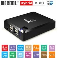 Original MECOOL KI PLUS DVB T2 DVB S2 DVB C Android 7.1 TV Box Amlogic S905D Quad Core 1GB 8GB 64bit 4K Set top Box 2.4G Wifi