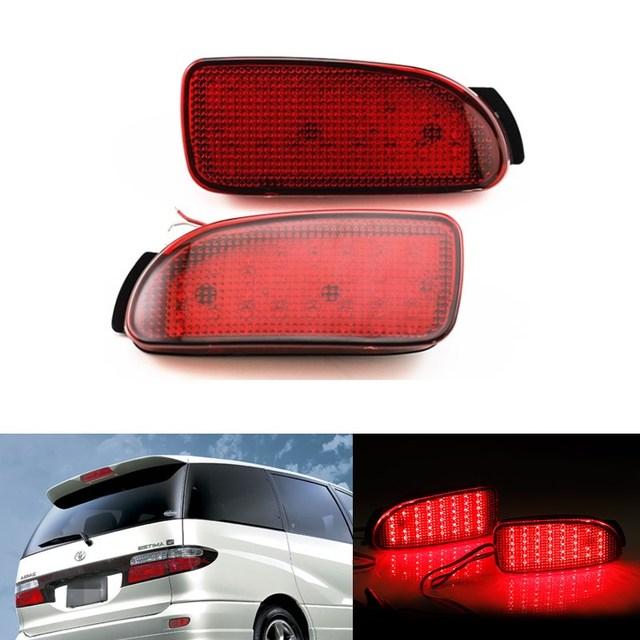 2 PCS Car Brake Cauda Estacionamento Aviso Faróis de Neblina LED Red Rear Bumper Refletores de Luz do Refletor Da Lâmpada para Toyota Estima