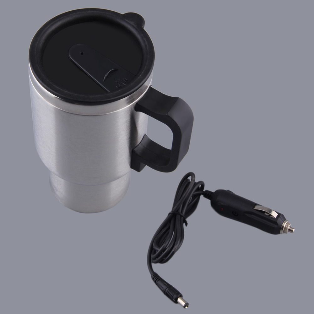 Car Heating Cup Auto 12V Heating Cup Electric Kettle Cars Thermal Heater Cups Boiling Water Bottel Auto Accessories 500ML+Cable