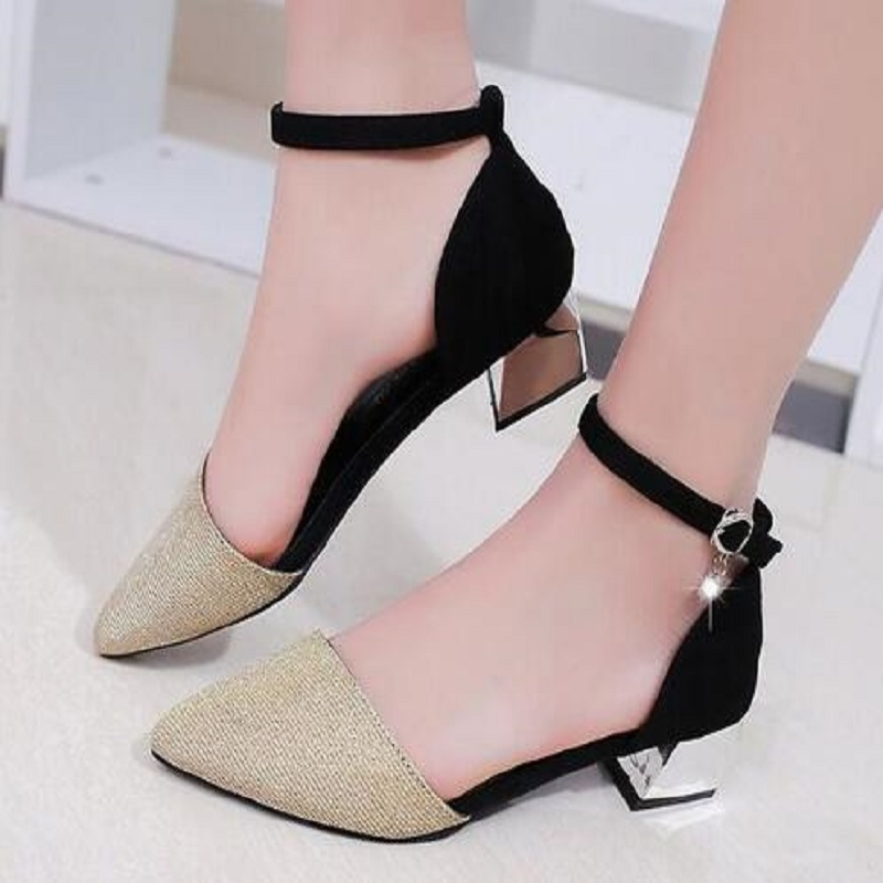2018 New Pointed Toe Low Heel Pumps Black Gold Silver Shallow Mouth 3.5cm Thick High Heel Shoes Solid OL women shoes [328] women autumn fashion shoes pu skin shallow low heeled shoes with high heel pointed shoes for ol lss 888
