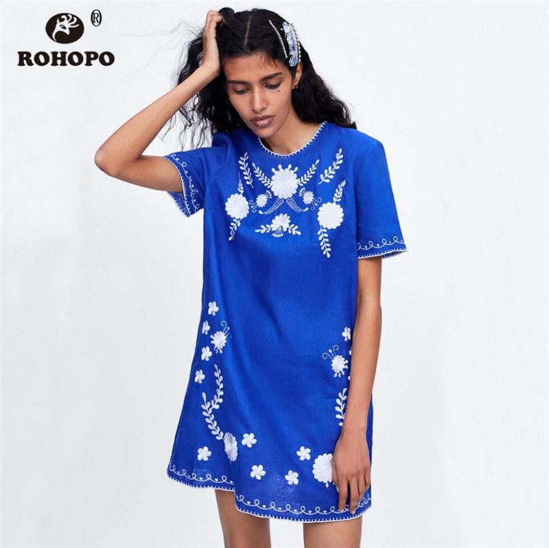ROHOPO Summer Women Embroidery Short Sleeve Dress Blue Vintage Linen Vintage Straight Mini Straight Dresses in Dresses from Women 39 s Clothing