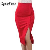Ołówek wysokiej Talii Spódnica Kobiet Plus Size Tight Bodycon Kobiety Mody Spódnica Midi Spódnica Czerwony Czarny Szczelina damska Biurowe 3XL 4XL 5XL