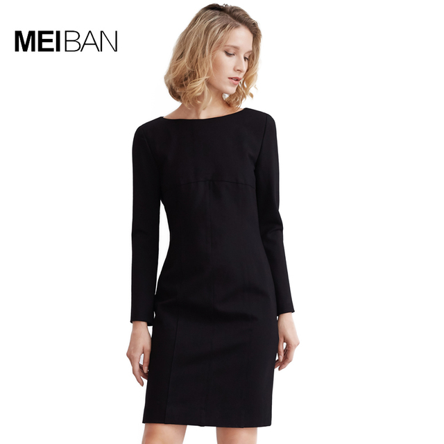US $125.55 |MEI BAN 2017 Europe American Career OL Brief Plus Size Straight  Black Seven Sleeve Autumn Women Knee Length Dresses-in Dresses from ...