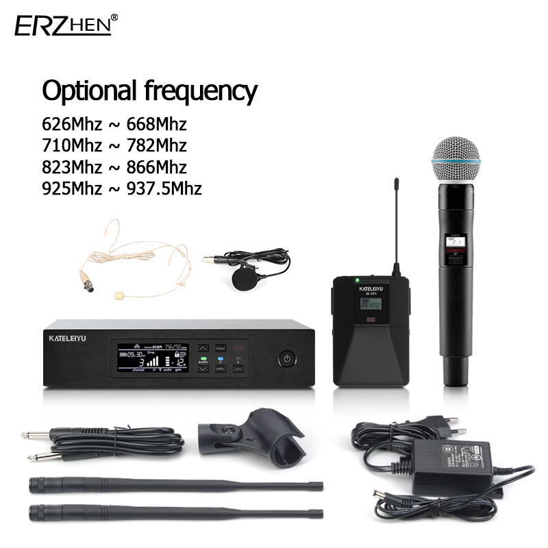 Professional wireless microphone system handheld + Bodypack + lavalier microphone + headset microphone stage karaoke set free shipping uhf professional sx 14 wireless microphone system with bodypack headset microphone band j3 572 596mhz