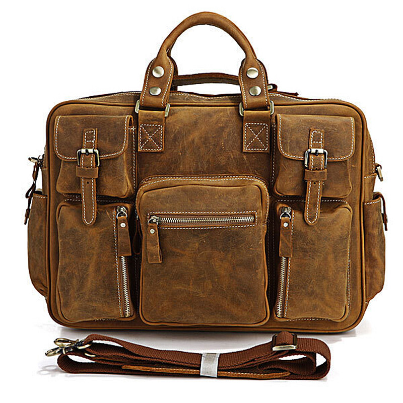 Men's Bags Genuine Leather Vintage Men Briefcases Handbags Natural Cow Leather Shoulder Bag Male Business Messenger Casual Bag genuine real cow leather messenger bags 14 inch laptop business men briefcases handbags men totes casual male work bag shoulder
