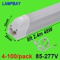 4-100/حزمة الصمام مصباح أنبوبي 8ft 2.4m T5 المتكاملة لمبة 40W 48W ضئيلة تجهيزات الإضاءة مع تركيبات يوميات شريط إضاءة خطية
