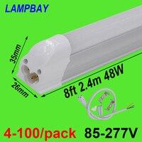 4 100/opakowanie rurka LED światła 8ft 2.4m T5 zintegrowane żarówki 40W 48W Slim Żyrandol z armatura skorelowane Bar oświetlenie liniowe w Żarówki i oprawy LED od Lampy i oświetlenie na