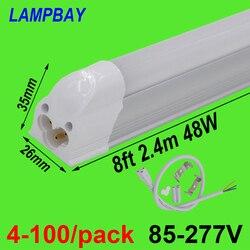 4-100/pack LED Buis Licht 8ft 2.4m T5 Geïntegreerde Lamp 40W 48W Slim Lamp armatuur met fittings Koppelbaar Bar Lineaire Verlichting