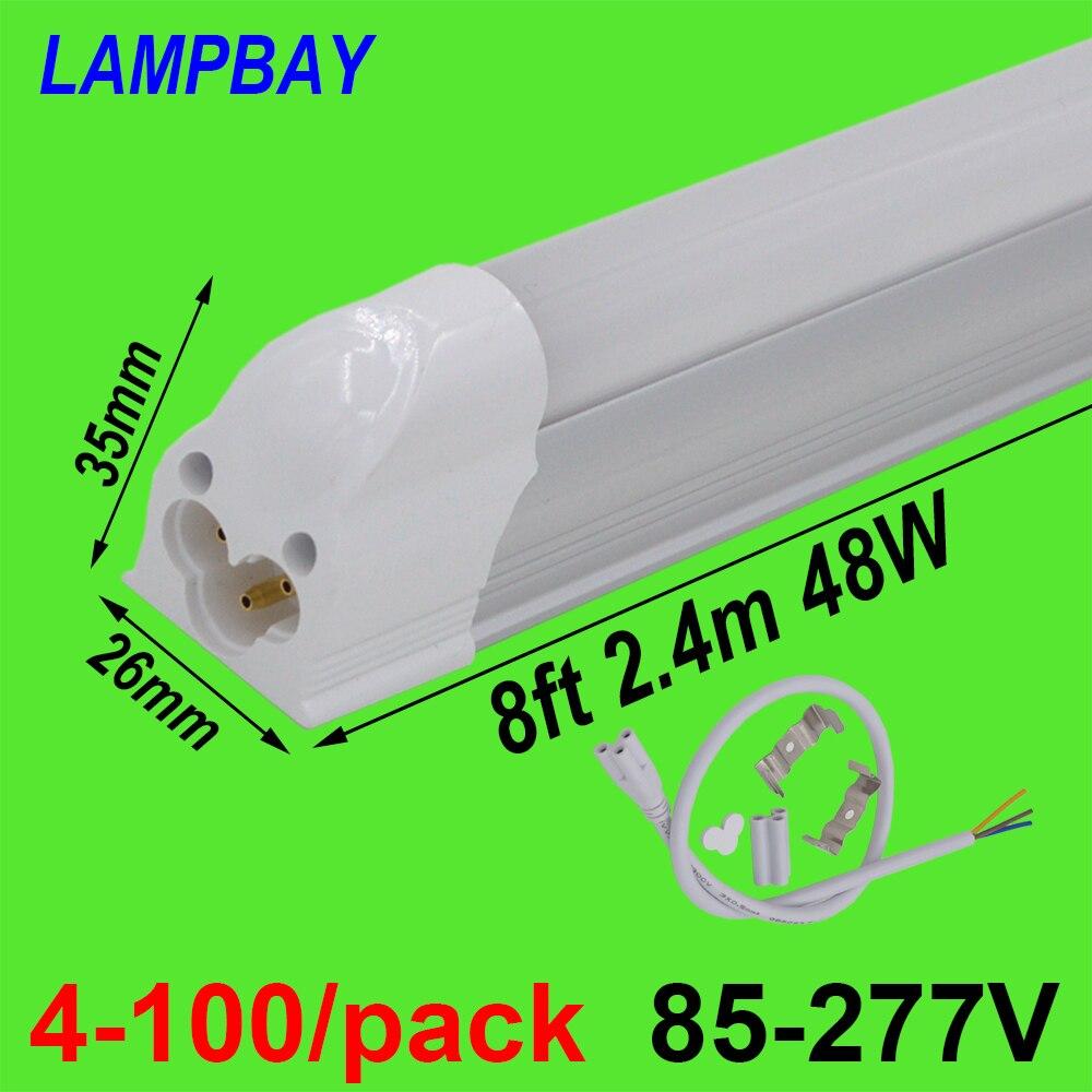 4-100/paquet LED Tube lumière 8ft 2.4 m T5 intégré ampoule 40 W 48 W mince lampe luminaire avec raccords Linkable barre linéaire éclairage