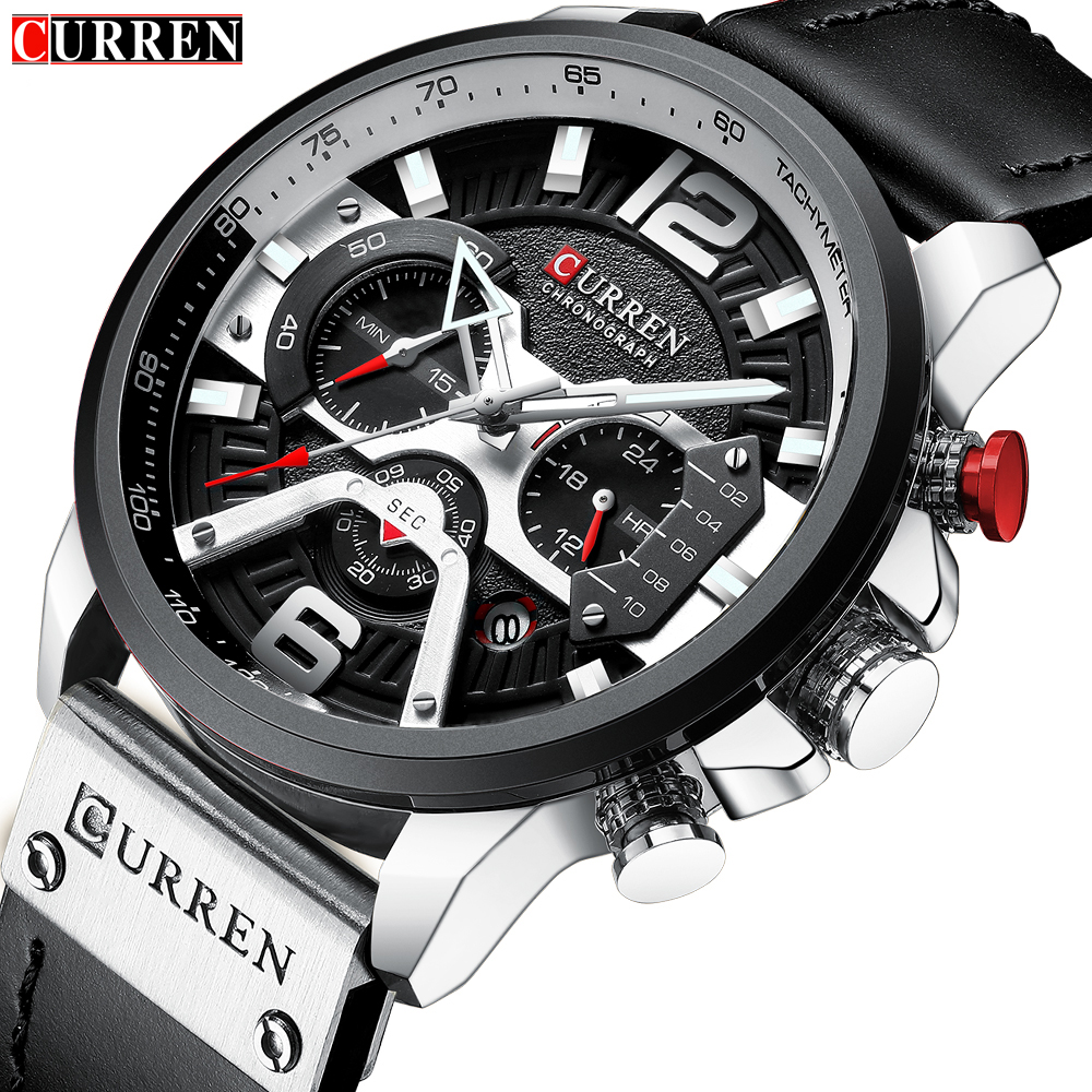 CURREN Casual Sport Watches For Men Top Brand Luxury Military Leather Wrist Watch Man Clock Fashion Chronograph Wristwatch 8329