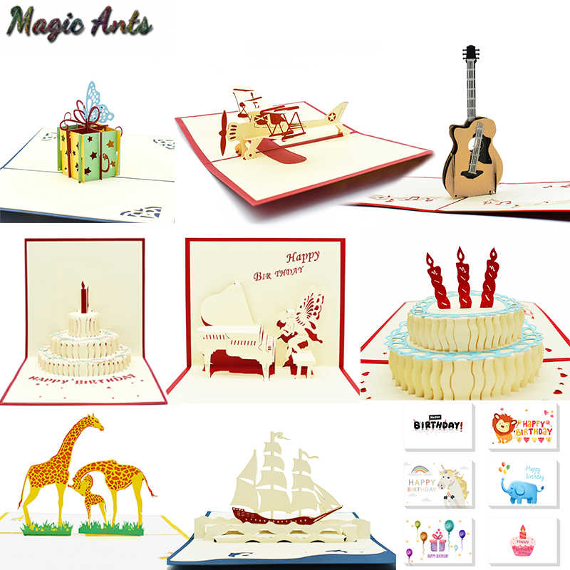 3D Pop UP Cards Birthday Card For Girl Kids Wife Husband Cake Greeting Postcards