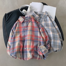 Spring New Plaid Shirt Men Fashion Casual Man Streetwear Trend Wild Hip Hop Loose Long-sleeved Male Clothes S-XL