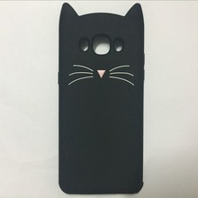 New Japan Cute 3D Glitter Bearded cat soft silicon phone case For samsung galaxy j510 j5 2016 Cartoon Coque back cover