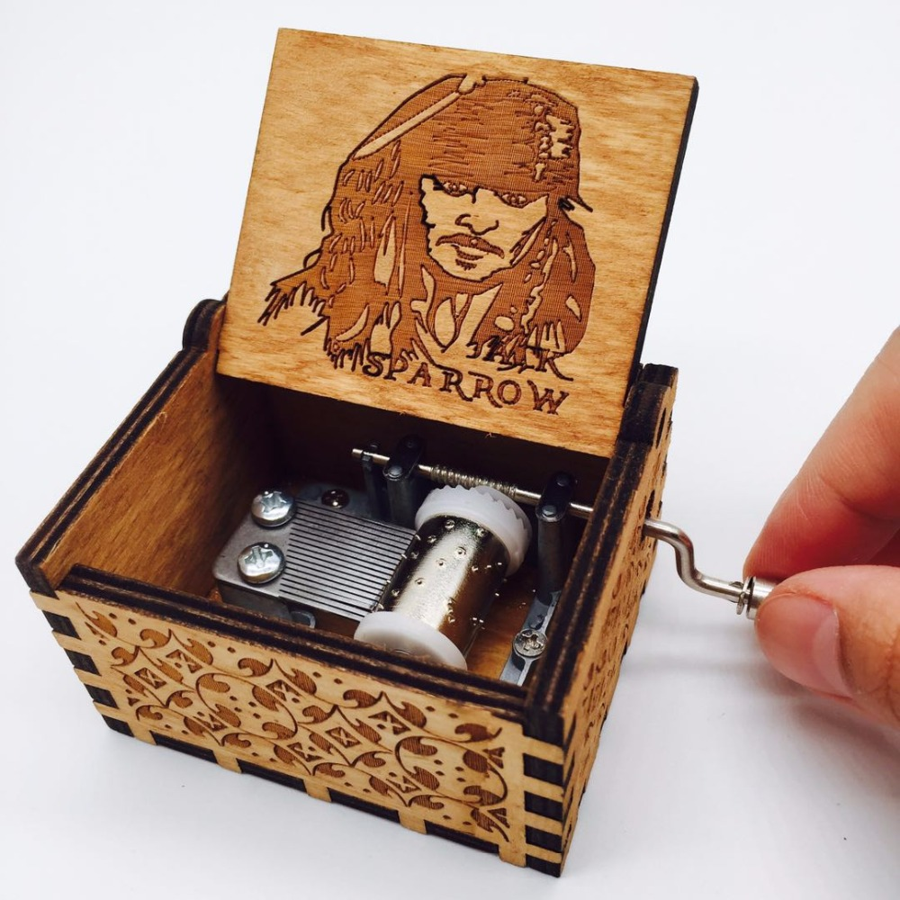 Davy Jones Locket Music Box Antique Carved Movie Pirates of the Caribbean Musical Boxes caja de musica Birthday Present