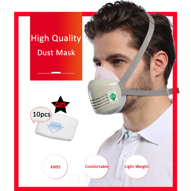High Quality Portable Half Face Work Dust Mask Gas Respirator Silicone Mask Cotton Filters For Builder Carpenter Work Safety high quality respirator gas mask provide silica gel gray protective mask paint pesticides industrial safety mask