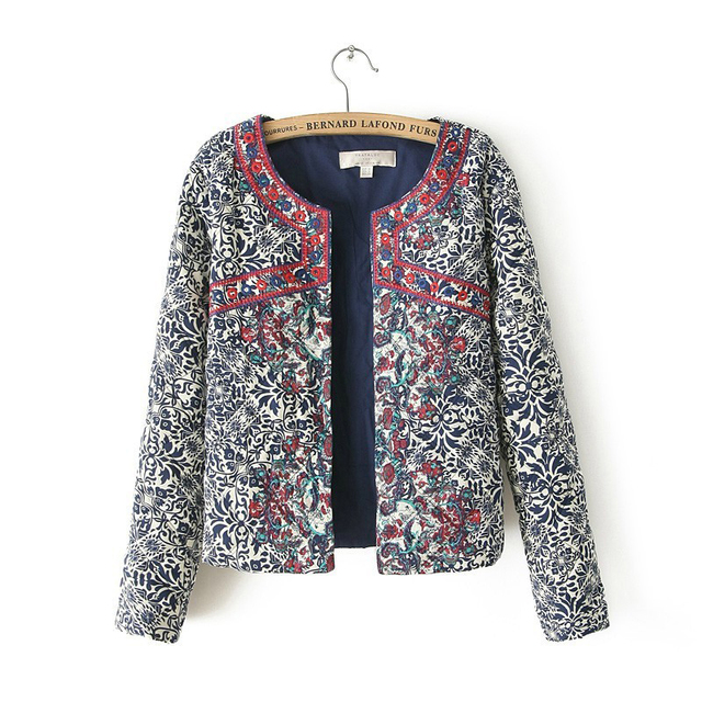 2016 spring autumn Retro Print Blue White Round Neck Full Sleeve Jacket Female Embroidered Coat For Women Embroidery Slim tops