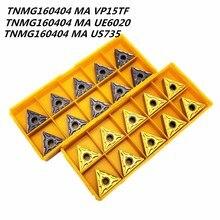 20PCS Carbide insert TNMG160404 MA UE6020/VP15TF/US735 external metal turning tool carbide TNMG16040 CNC lathe