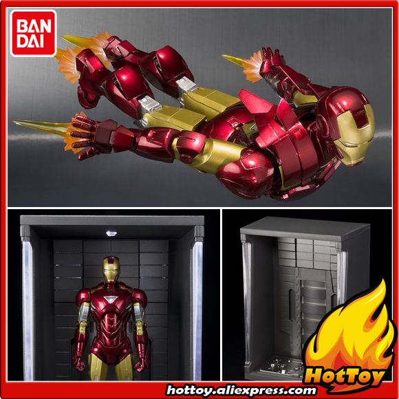 Original BANDAI S.H.Figuarts (SHF) Exclusive Action Figure - Iron Man Mark 6 (MK-6) & Hall of Armor SET from IRONMAN 2 new arrival super hero iron man mark xxi golden armor action figure neca ironman free shipping hrfg291