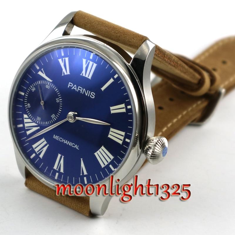 44mm Parnis esfera azul real luminoso 17 joyas mecánico 6497 movimiento de cuerda manual hombres reloj-in Relojes mecánicos from Relojes de pulsera    3