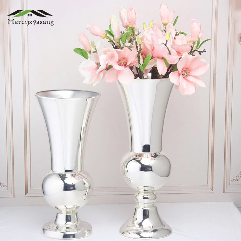 Flowers Vases Nordic Table Metal Vase Plant Dried Floral Holder Flower Pot Silver for Home Wedding