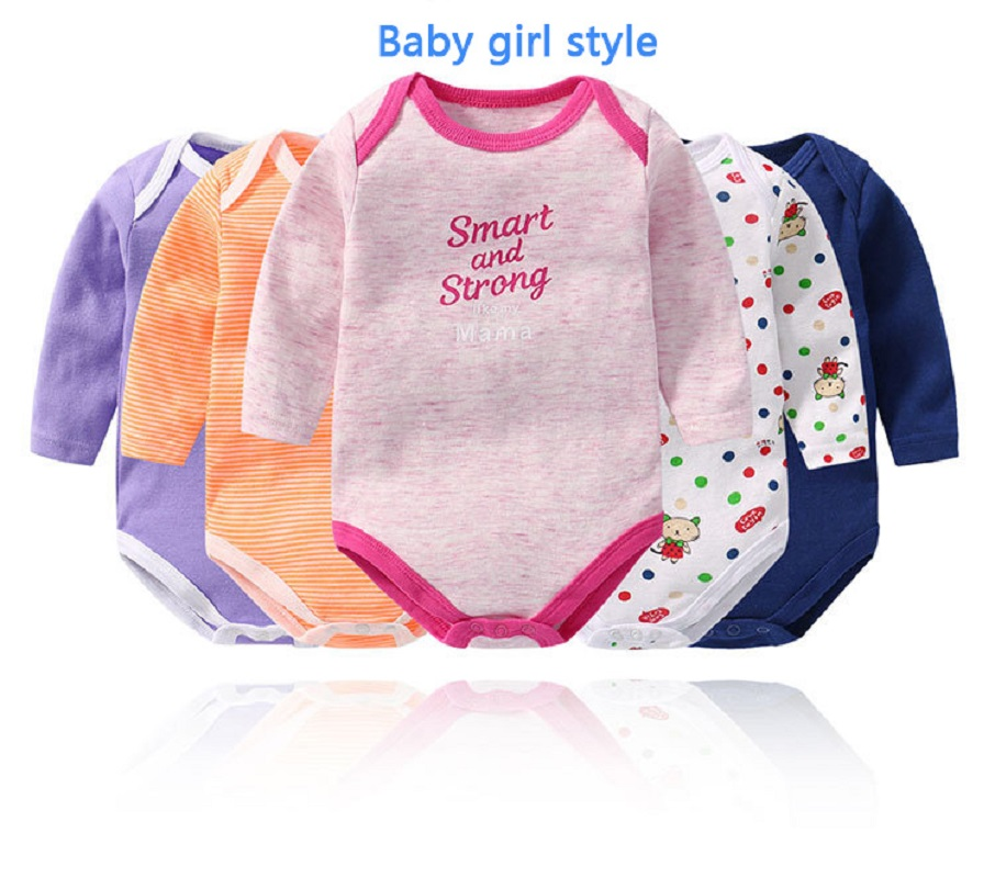 5 Pc lot Baby Triangle Long Sleeve Climbing Clothing 0 24 Months Baby Boys Girls Cotton Cartoon Rompers in Bodysuits from Mother Kids