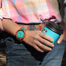 Drewniany Turkusowy Zegarek dla Par