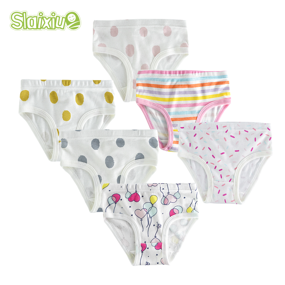 3/6/9Pcs/Lot Cotton Kids Underwear Girls Cute Cartoon Design Bow  For Children's Girl Underpants Short Panties For Baby Clothing