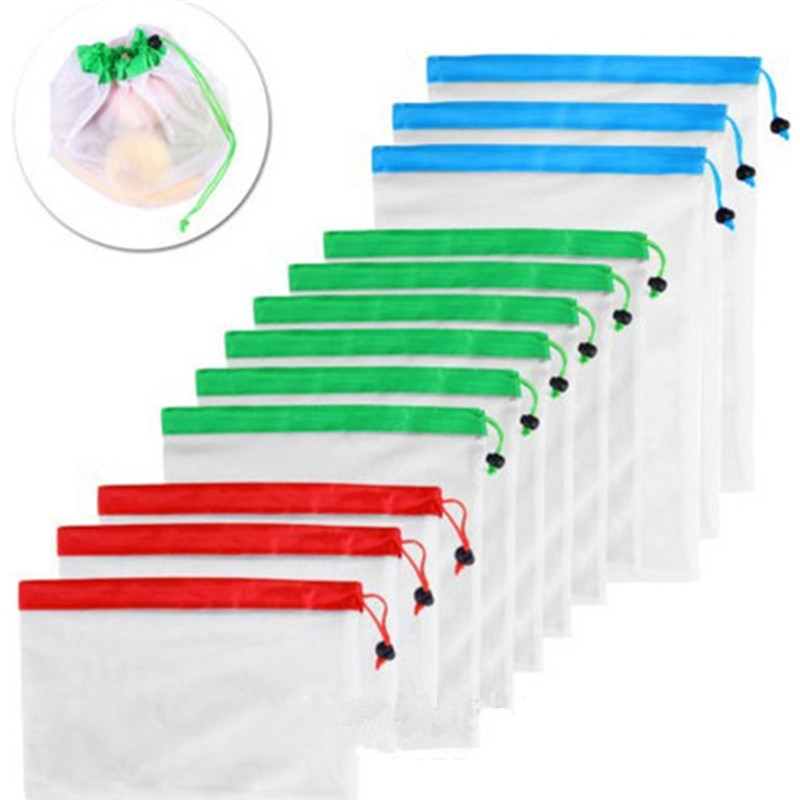 1Pcs Reusable Mesh Bags Rope Vegetable Toys Storage Pouch Fruit Grocery Bags Mesh Storage Bag Shopping Bag Free Shipping