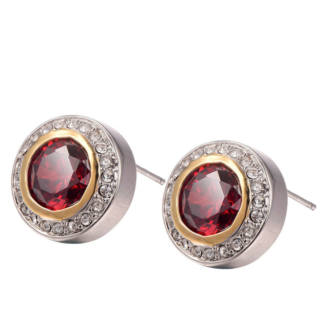 Garnet With Multi White Crystal Zircon Earrings 925 Sterling Silver   Earrings TE631
