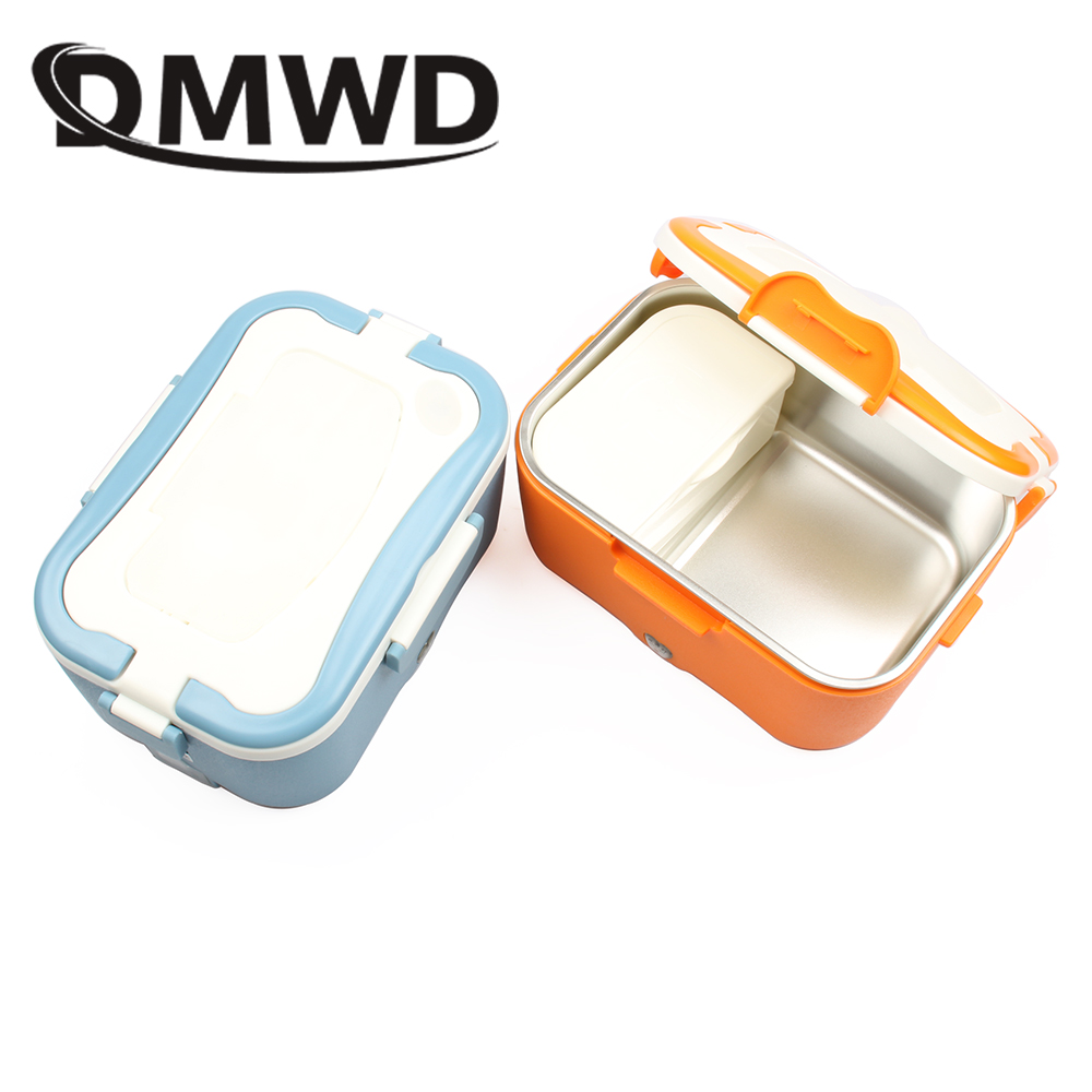DMWD 1.5L Mini Lunch box stainless steel liner Auto electric food heating insulation boxes home car use EU US plug 220V 12V 24V