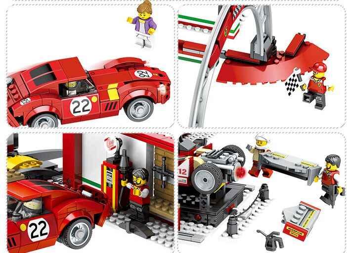 مجموعة ألعاب للأطفال لبناء قوالب السباق الرياضية للأبطال ومتوافقة مع Legoinglys لسرعة جراج السباق
