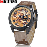 Famous Quality CURREN Brand Fashion Military Watch Men Leather Watchband Quartz Wrist Watches For Men S