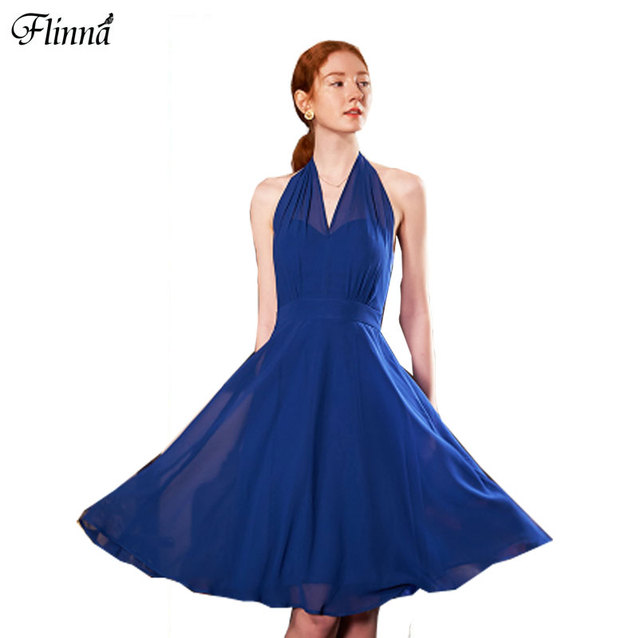 2017 Summer New Arrival Womens Dresses La La Land Emma Stone Miya Chiffon Sexy Club Royalblue Halter Tank Party Dresses