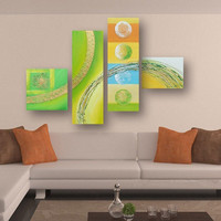 4 Panel Pictures Modern Home Decor Wall Art Hand Painted Abstract Colorful Circle Oil Painting Graffiti Line Acrylic Paintings