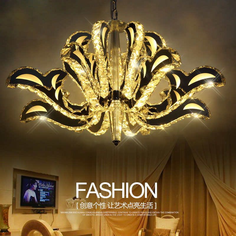 Z Modern Crystal Chandelier Swan Lake Shape Design Livingroom Lamps Bedroom Lighting Fixture Duplex Stairs LED Hanging Lamp круг надувной roxy kids flipper swan lake music лебединое озеро розовый
