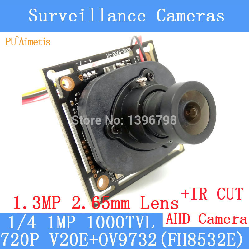 PU`Aimetis 1000TVL AHD Camera Module 720P 1.0MP CCTV PCB Main Board V20E+OV9732 1.3MP 2.65mm wide angle lens+IR Cut cameras 1200tvl ahd camera module 960p 1 3mp cctv pcb main board nvp2431h t151 3mp12mm lens ir cut surveillance cameras ods bnc cable