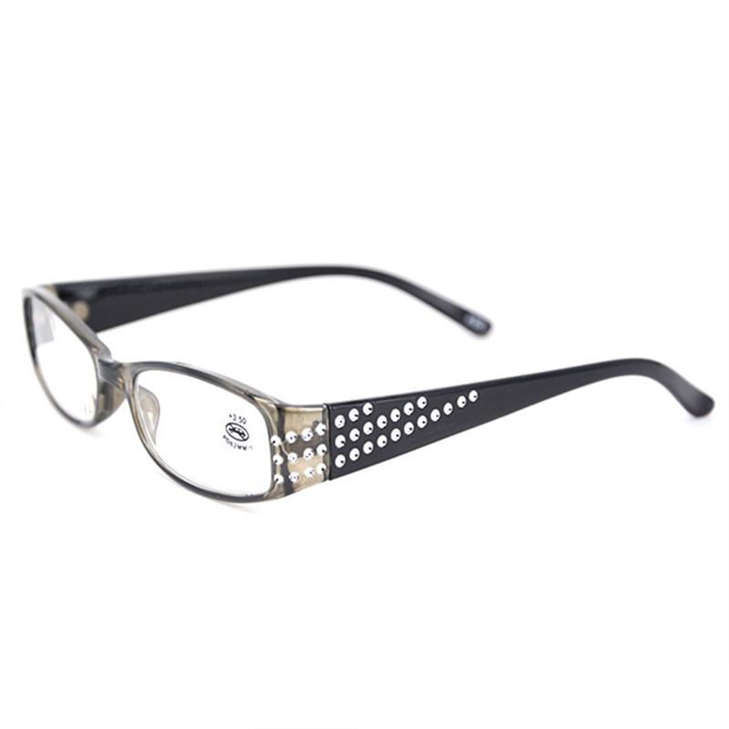 Oulylan Classic Women Reading Glasses Diamond Resin Hyperopia Prescription Eyeglasses Ladies Rhinestone Eyewear Readers +1.0 3.5