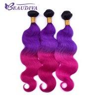 T1B/Purple/Red Brazilian Body Wave Hair Bundles 100% Human Hair Bundles 20 22 24 Remy Hair Extensions in Stock