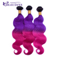 T1B/Purple/Red Brazilian Body Wave Hair Bundles 100% Human Hair Bundles 20 22 24 Remy Hair Extensions in Stock