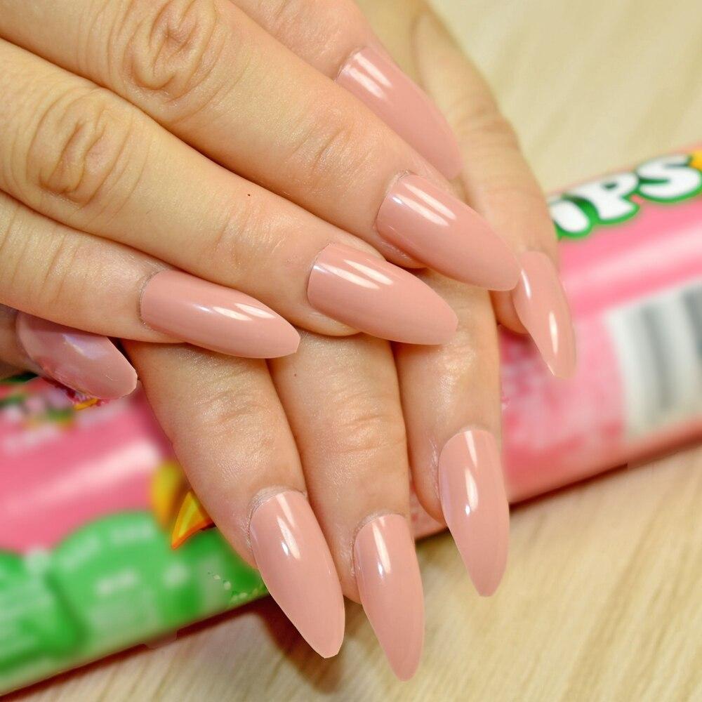 24 stücke/kit Nude Rosa Gefälschte Nägel Glänzende Oberfläche ...