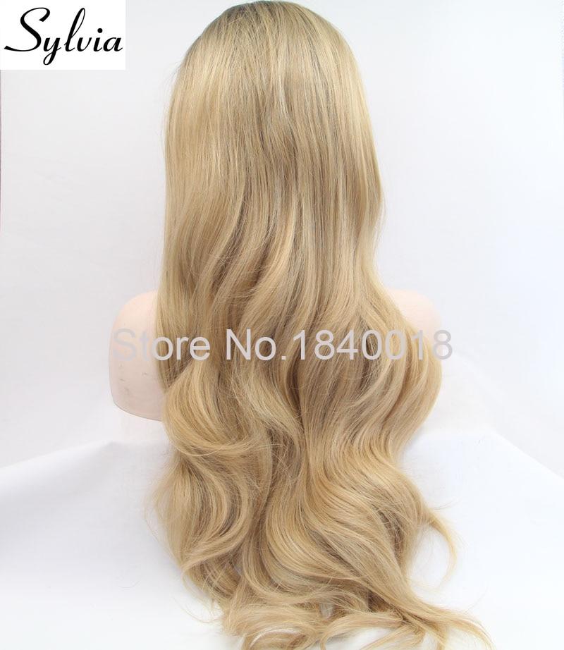 sylvia blandad blond ombre lång kroppsvåg syntetisk spets främre - Syntetiskt hår - Foto 3