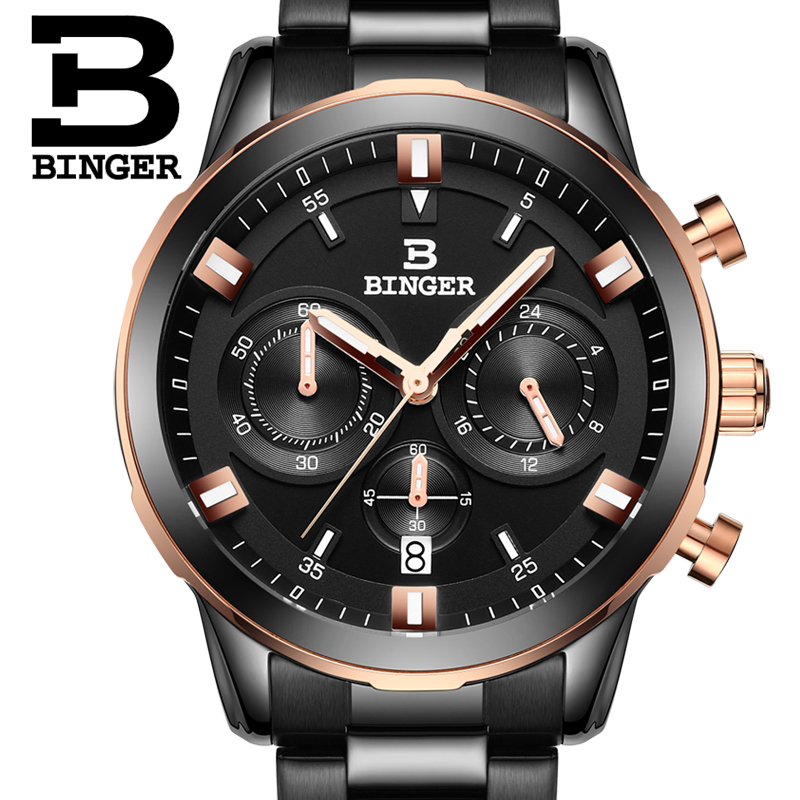 2017 Switzerland luxury men's watch BINGER brand quartz clock full stainless Wristwatches Chronograph Diver glowwatch B9011-6 2017 switzerland luxury relogio masculino binger brand quartz full stainless wristwatches chronograph diver clock b9011 2