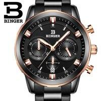 2017 Switzerland Luxury Watch Men BINGER Brand Quartz Full Stainless Wristwatches Chronograph Diver Glowwatch B9011 6