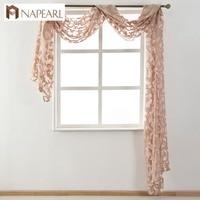 European Style Sheer Valance Waterfall Organza Tulle Fabrics White Black Beige Window Treatment Home Decoration Textile